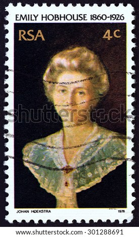SOUTH AFRICA - CIRCA 1976: A stamp printed in South Africa issued for the 50th death anniversary of Emily Hobhouse shows welfare worker Emily Hobhouse, circa 1976. - stock photo