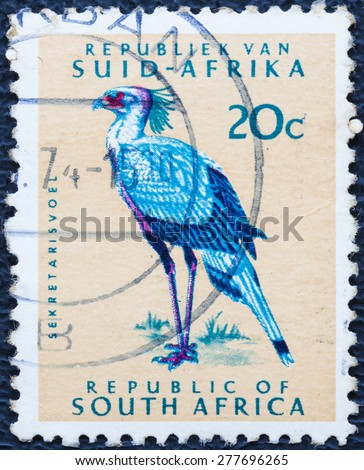 SOUTH AFRICA - CIRCA 1961: A stamp printed in South Africa shows a Secretary bird, circa 1961. - stock photo