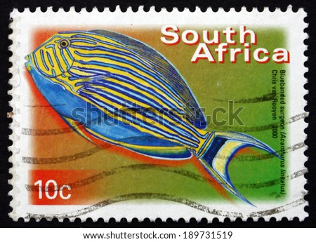 SOUTH AFRICA - CIRCA 2000: a stamp printed in South Africa shows Blue-banded Surgeonfish, Acanthurus Lineatus, Marine Tropical Fish, circa 2000 - stock photo