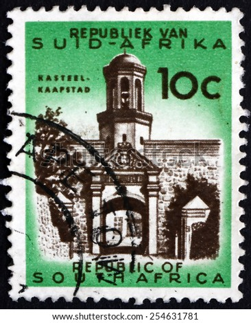 SOUTH AFRICA - CIRCA 1961: a stamp printed in South Africa shows Castle Entrance, Cape Town, circa 1961 - stock photo