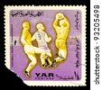 SOUTH AFRICA - CIRCA 1974: a stamp printed in SOUTH AFRICA, shows football world championship purple mark , three players are running for ball, circa 1974 - stock photo