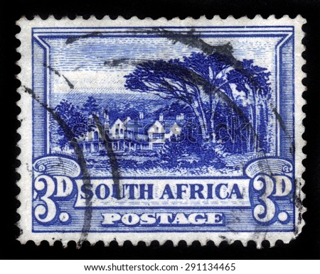 SOUTH AFRICA - CIRCA 1940: a stamp printed in South Africa shows Groote Schuur, the residence of Cecil Rhodes, circa 1940 - stock photo