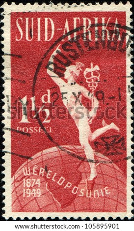 SOUTH AFRICA - CIRCA 1948: A stamp printed in South Africa shows Hermes, circa 1948 - stock photo