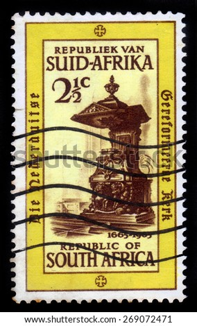SOUTH AFRICA - CIRCA 1965: A stamp printed in South Africa shows pulpit in Dutch Reformed Church, circa 1965 - stock photo