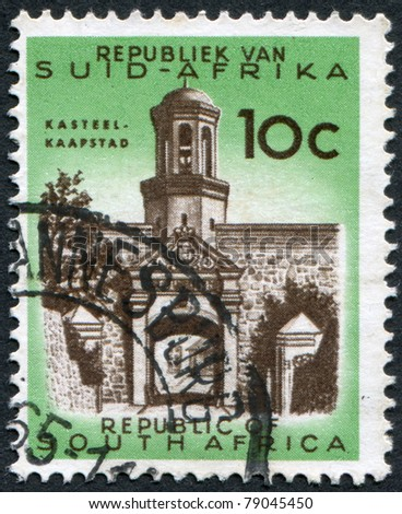 SOUTH AFRICA-CIRCA 1961: A stamp printed in the South Africa, depicts Entrance gate, Castle of Good Hope (Kasteel de Goede Hoop), circa 1961 - stock photo
