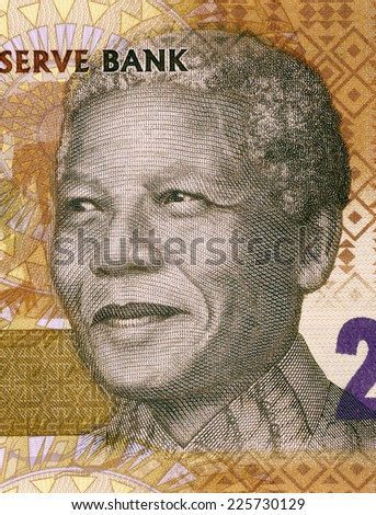 SOUTH AFRICA - CIRCA 2012: Nelson Mandela (born 1918) on 20 Rand 2012 Banknote from South Africa.  - stock photo
