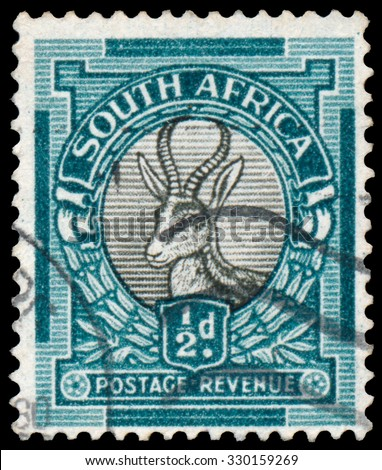SOUTH AFRICA - CIRCA 1930: Stamp printed in South Africa shows Springbok - antelope, circa 1930 - stock photo