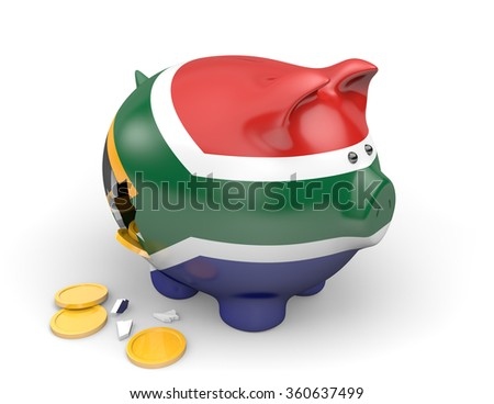South Africa economy and finance concept for poverty and national debt - stock photo