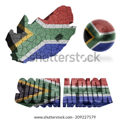 South Africa flag and map in different styles in different textures - stock photo