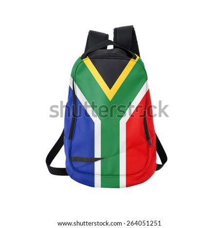 South Africa flag backpack isolated on white background. Back to school concept. Education and study abroad. Travel and tourism in South Africa - stock photo