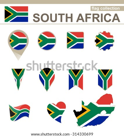South Africa Flag Collection, 12 versions, Rasterized Copy - stock photo