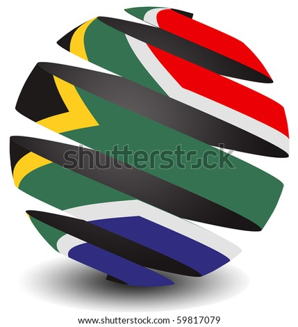 South Africa flag in spiral peel effect