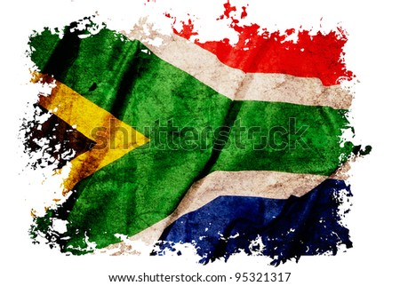 South Africa flag on old vintage paper, can be use for background design and vintage related concept. Also American Independence Day. - stock photo