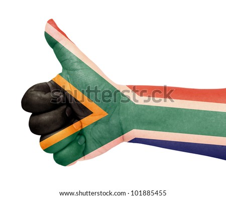 South Africa flag on thumb up gesture like icon - stock photo