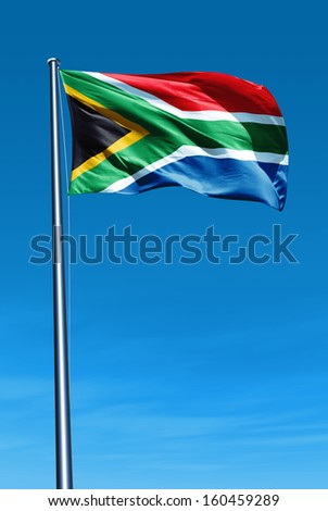 South Africa flag waving on the wind - stock photo