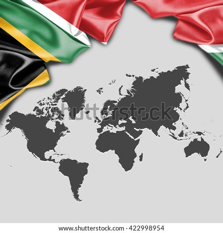 South africa flag world map waving stock illustration 422998954 south africa flag with world map waving flag with typography gumiabroncs Choice Image