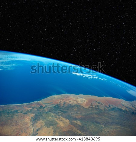 South Africa from space with stars above. Elements of this image furnished by NASA.  - stock photo