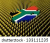 South Africa map flag surrounded by many abstract people illustration - stock photo