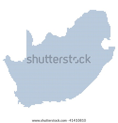 South africa map formed by dots. - stock photo