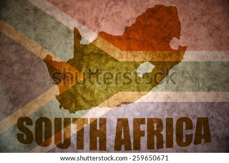south africa map on a vintage south africa flag background - stock photo