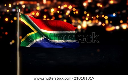 South Africa National Flag City Light Night Bokeh Background 3D - stock photo