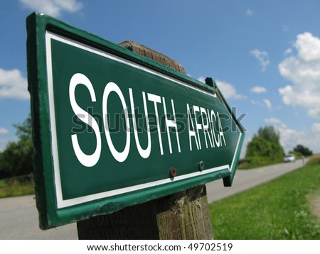 SOUTH AFRICA road sign - stock photo