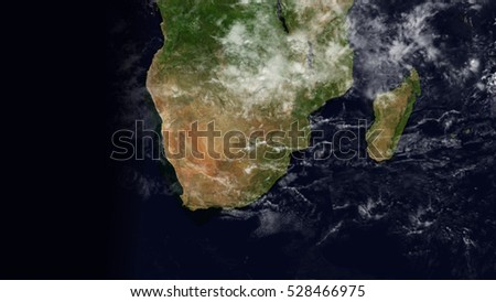 South Africa Satellite Space Map Composition (Elements of this image furnished by NASA)