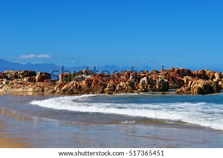 South Africa, 26/09/2009: the beach of Plettenberg Bay, called Plet or Plett, originally named Bahia Formosa, Beautiful Bay, by early Portuguese explorers, a town on South Africa's Garden Route