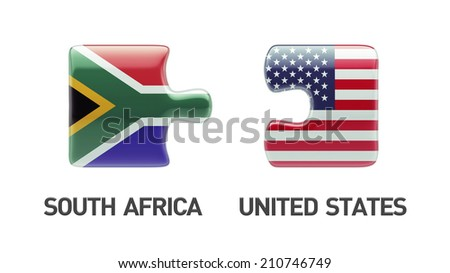 South Africa United States High Resolution Puzzle Concept - stock photo
