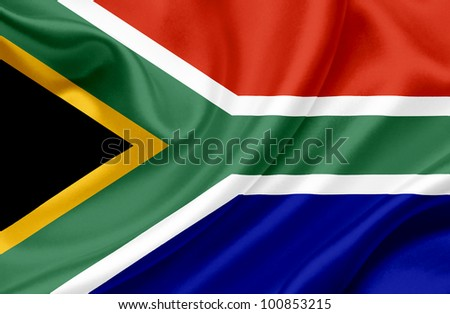 South Africa waving flag - stock photo