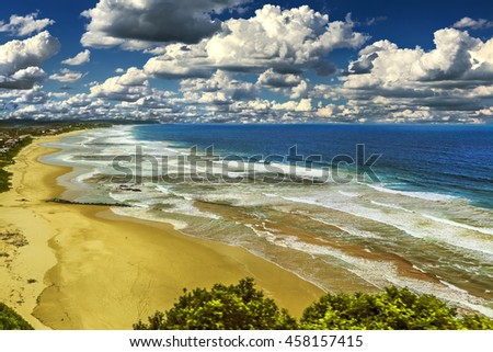 South Africa. Western Cape Province. Long sand beach and lagoon of Wilderness (Wildernis in Africaans) - seaside town on the Garden Route - stock photo