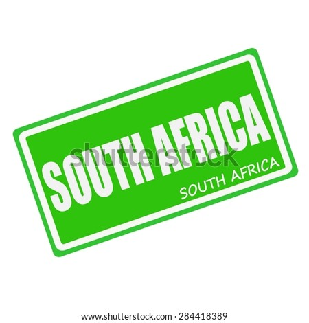 SOUTH AFRICA white stamp text on green - stock photo