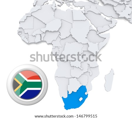 South Africa with national flag - stock photo