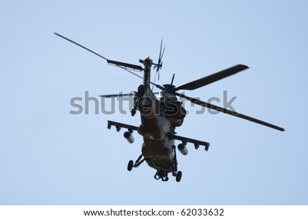 South African Air Force Rooivalk attack helicopter at Ysterplaat Air Force Base Cape Town South Africa 24 September 2010. - stock photo