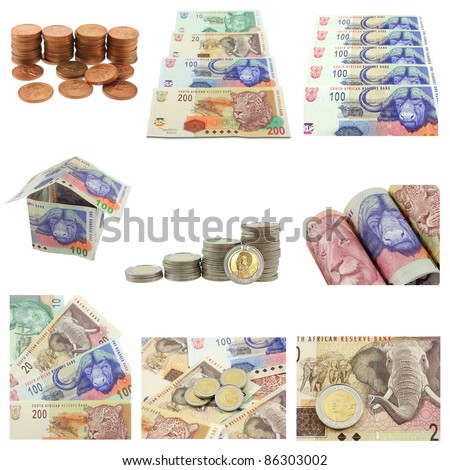 South African Currency - different notes and coins