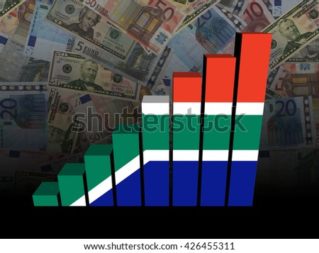 South African flag bar chart over Euros and Dollars 3d illustration