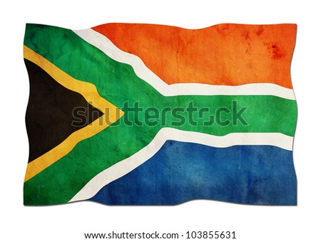 South African Flag made of Paper - stock photo