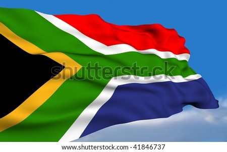 South African Flag waving on wind. - stock photo