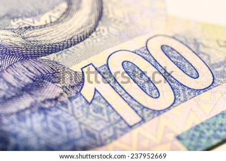 South African one hundred rand note close up 3 - stock photo