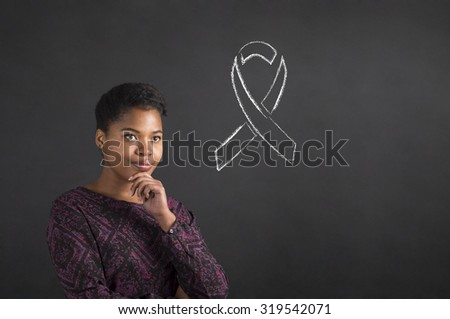 South African or African American black woman teacher or student with her hand on her chin whilst thinking about illness awareness standing against a chalk blackboard background inside - stock photo