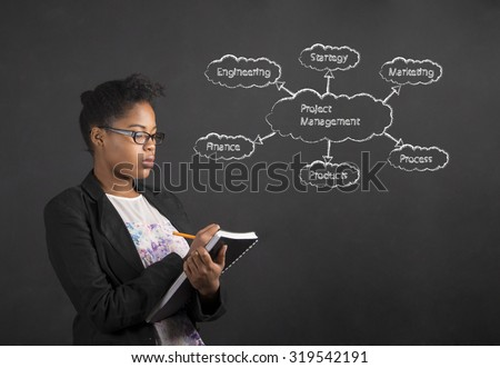 South African or African American black woman teacher or student writing about project management in a book or diary against a chalk blackboard background inside