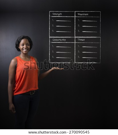 South African or African American woman teacher or student against blackboard background with a chalk SWOT analysis - stock photo