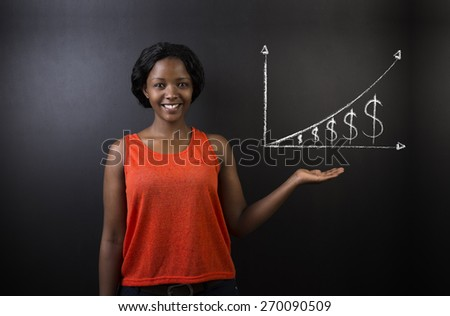 South African or African American woman teacher or student against blackboard background with chalk money graph - stock photo