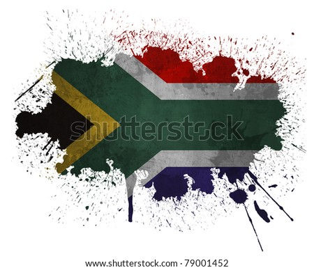 South African paint splatter flag - stock photo