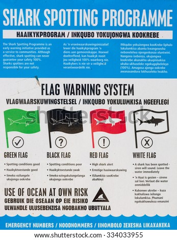 South African shark spotting warning system sign - stock photo