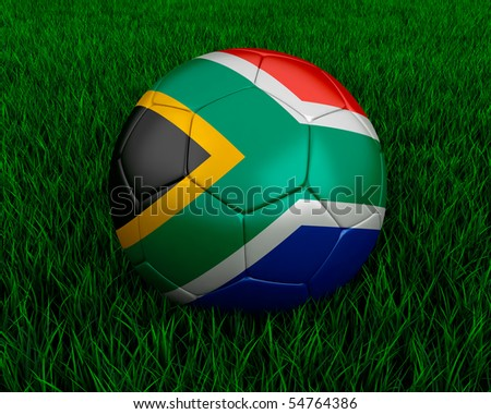 South African soccer ball in grass. - stock photo