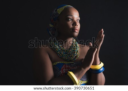 South african xhosa woman wearing colorful necklace and bracelets. - stock photo