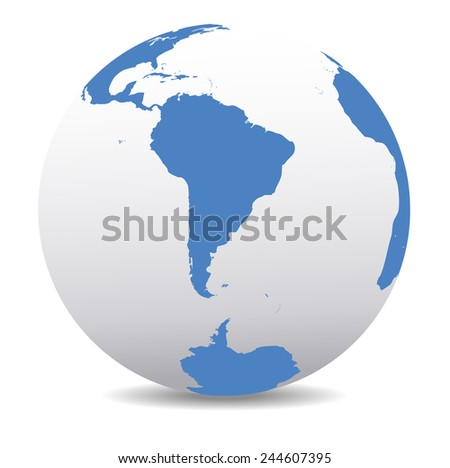 South America and South Pole Global World - Raster Version - stock photo