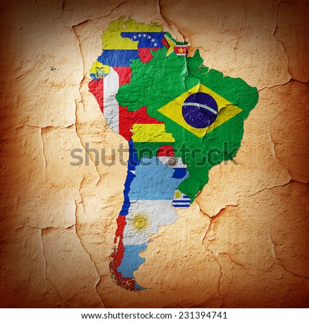 South America,continent, flags, maps,and wall background - stock photo