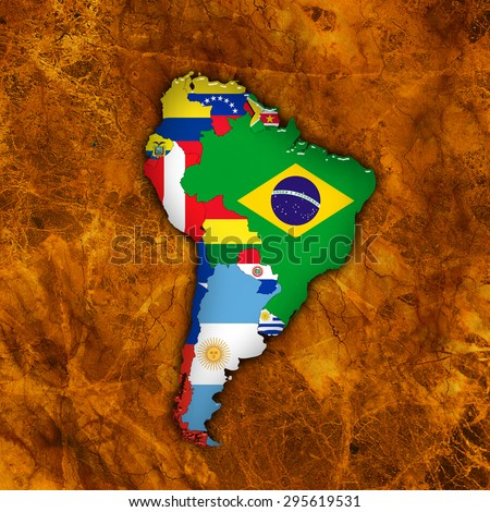 South America,continent, flags, maps, and  wall background - stock photo